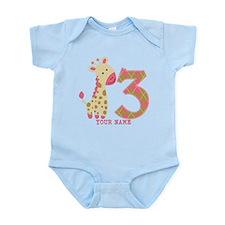 3rd Birthday Pink Giraffe Personalized Infant Body