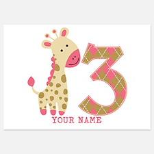 3rd Birthday Pink Giraffe Personalized 5x7 Flat Ca