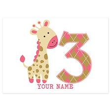 3rd Birthday Pink Giraffe Personalized Invitations
