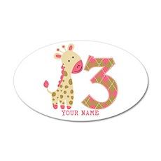 3rd Birthday Pink Giraffe Personalized Wall Decal
