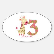3rd Birthday Pink Giraffe Personalized Decal