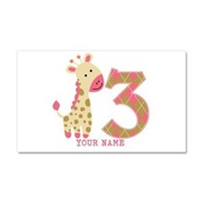 3rd Birthday Pink Giraffe Personalized Car Magnet