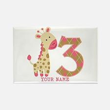 3rd Birthday Pink Giraffe Personalized Rectangle M