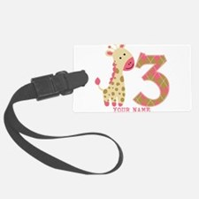 3rd Birthday Pink Giraffe Personalized Luggage Tag
