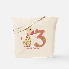 3rd Birthday Pink Giraffe Personalized Tote Bag