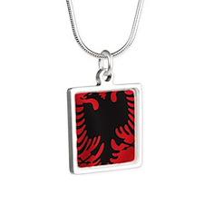 albania_flag Silver Square Necklace