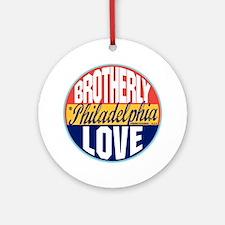Philadelphia Vintage Label W Round Ornament