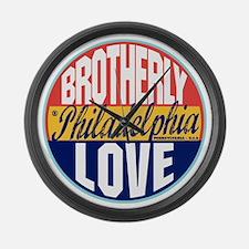 Philadelphia Vintage Label W Large Wall Clock