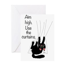 aim_high_use_curtains Greeting Card