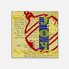 "primitive folk art joy chri Square Sticker 3"" x 3"""