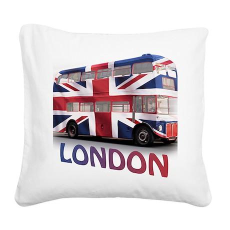 497 London Bus with Union Jac Square Canvas Pillow
