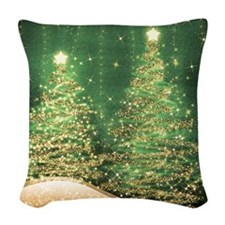 Sparkling Christmas Trees Gree Woven Throw Pillow