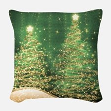 Sparkling Christmas Trees Gree Woven Throw Pillow