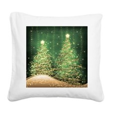 Sparkling Christmas Trees Gre Square Canvas Pillow