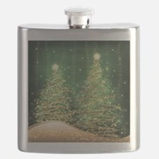 Sparkling Christmas Trees Green Flask