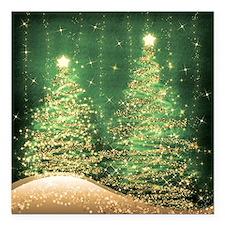"Sparkling Christmas Tree Square Car Magnet 3"" x 3"""
