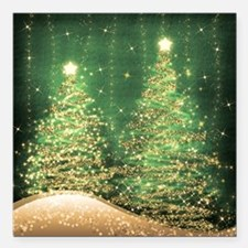 "Sparkling Christmas Tree Square Car Magnet 3"" x 3"""