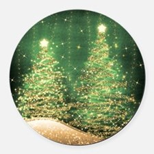Sparkling Christmas Trees Green Round Car Magnet
