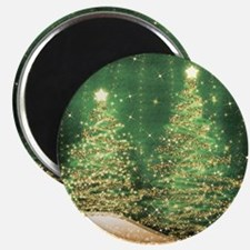 Sparkling Christmas Trees Green Magnet