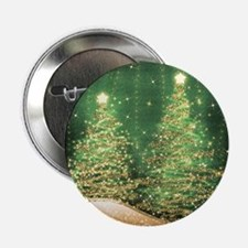 "Sparkling Christmas Trees Green 2.25"" Button"