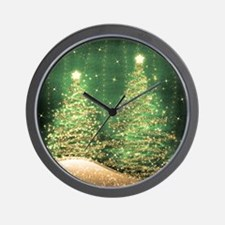 Sparkling Christmas Trees Green Wall Clock