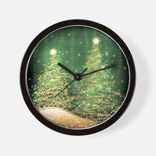 Sparkling Christmas Trees Green Wall Clock