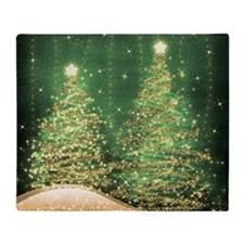 Sparkling Christmas Trees Green Throw Blanket