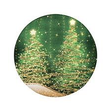 "Sparkling Christmas Trees Green 3.5"" Button"