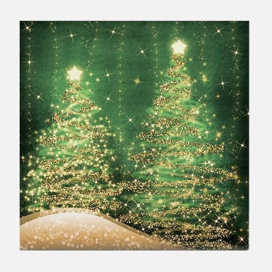 Sparkling Christmas Trees Green Tile Coaster