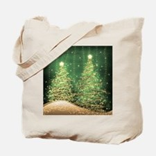 Sparkling Christmas Trees Green Tote Bag