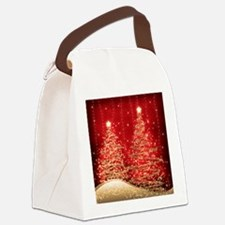 Sparkling Christmas Trees Red Canvas Lunch Bag