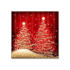 "Sparkling Christmas Trees R Square Sticker 3"" x 3"""