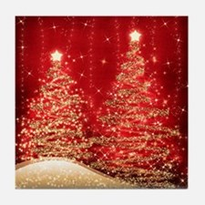 Sparkling Christmas Trees Red Tile Coaster