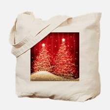 Sparkling Christmas Trees Red Tote Bag