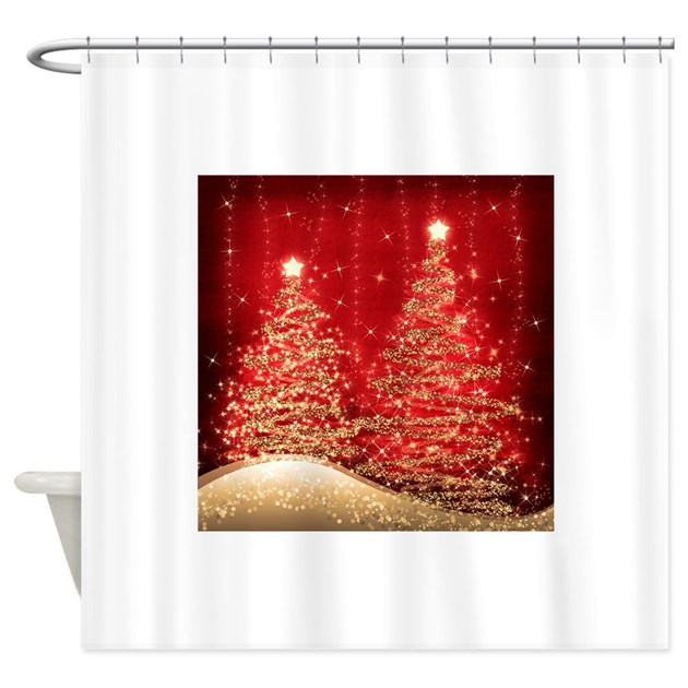 Sparkling Christmas Trees Red Shower Curtain By Admin