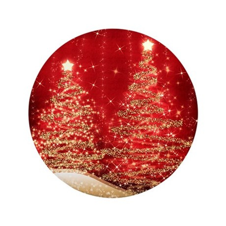 """Sparkling Christmas Trees Red 3.5"""" Button"""