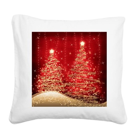 Sparkling Christmas Trees Red Square Canvas Pillow