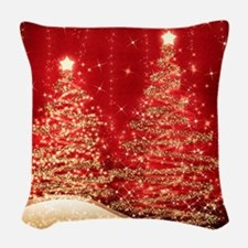Sparkling Christmas Trees Red Woven Throw Pillow