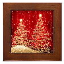 Sparkling Christmas Trees Red Framed Tile