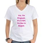 Pregnant w/ Girl due August Women's V-Neck T-Shirt
