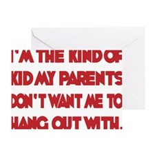 red, Im the kind of Kid Greeting Card