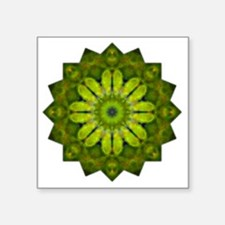 "Green Flower Heart Chakra M Square Sticker 3"" x 3"""