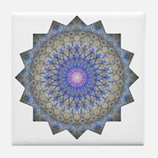 Blue Purple Yoga Mandala Shirt Tile Coaster