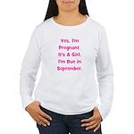 Pregnant w/ Girl due Septembe Women's Long Sleeve
