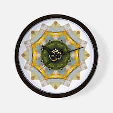 Gold Green Yoga Om Mandala Shirt Wall Clock