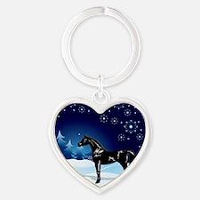 Snow_horse3 Heart Keychain