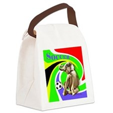 Soccer Elephant rect. shape Canvas Lunch Bag