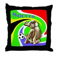 Soccer Elephant rect. shape Throw Pillow