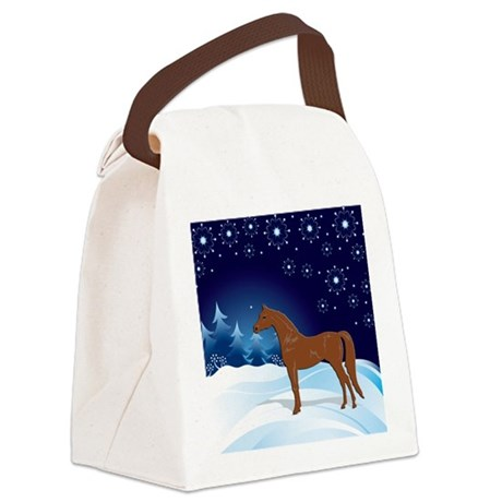 Snow_horse4 Canvas Lunch Bag