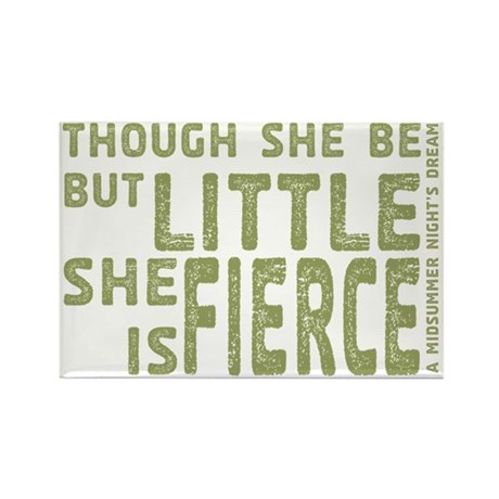 She is Fierce - Stamped Olive Rectangle Magnet